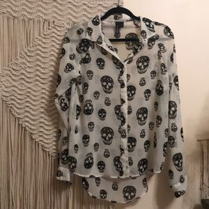 Tops - Skull button up